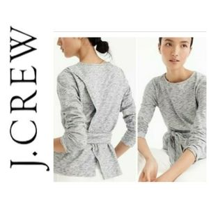 J. Crew Belted Crossback Top Heathered Grey